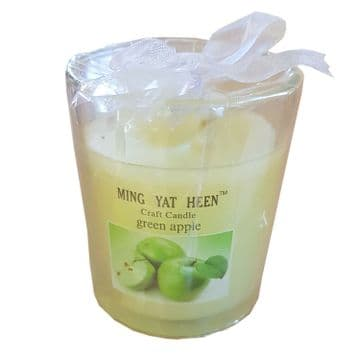3 x GREEN APPLE SCENTED WAX CANDLES in JAR